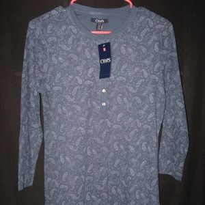 CHAPS BLUE PAISLEY WAFFLE HENLEY SZ. SMALL NWT